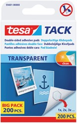 KLEEFPAD TESA TACK TRANSPARANT 200 -PLAKBAND EN PLAKBANDHOUDERS 59401-00000-01 STUKS