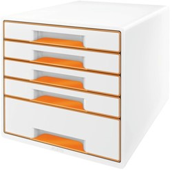 LADENBOX LEITZ WOW 5 LADEN WIT/ORANJE -LADENBOXEN 52142044