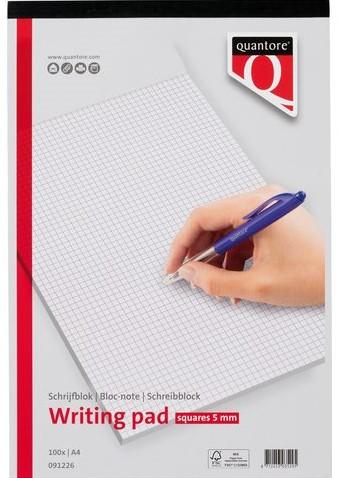 SCHRIJFBLOK QUANTORE A4 RUIT 5MM 60GRAM -HUISMERK SCHRIJFBLOKS 091226 Schrijfblok quantore a4 netto ruit 5x5mm