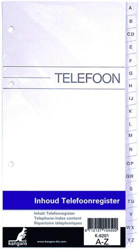 VULLING TELEFOONALBUM KTC K-6201 A-Z 4R -ADRESSENREGISTERS K-6201 Vulling telefoonalbum ktc k-6201 a-z 4r