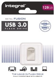 USB-STICK INTEGRAL FD 128GB METAL -USB STICKS INFD128GBFUS3.0 FUSION ZILVER
