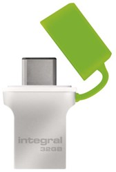 USB-STICK INTEGRAL FD 32GB 3.0 TYPE C -USB STICKS INFD32GBFUS3.0-C ZILVER