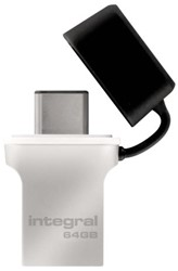 USB-STICK INTEGRAL FD 64GB 3.0 TYPE C -USB STICKS INFD64GBFUS3.0-C ZILVER