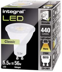 LEDLAMP INTEGRAL GU10 5.5W 2700K -LAMPEN EN VERLICHTING ILGU10DC092 DIMBAAR WARM WIT