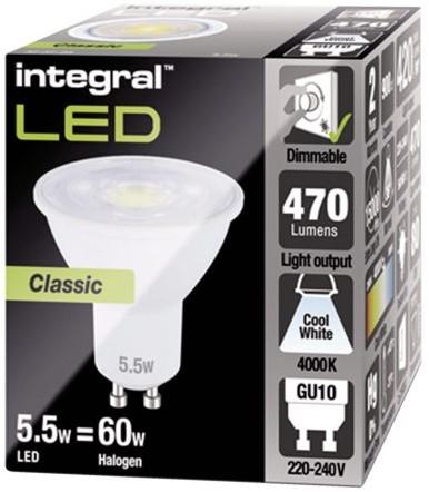 LEDLAMP INTEGRAL GU10 5.5W 4000K -LAMPEN EN VERLICHTING ILGU10DE093 DIMBAAR KOEL WIT