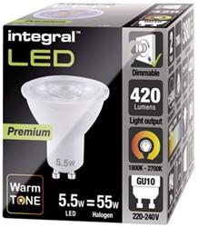 LEDLAMP INTEGRAL GU10 5.5W DIMBAAR -LAMPEN EN VERLICHTING ILGU10DC097 ULTRA WARM WIT