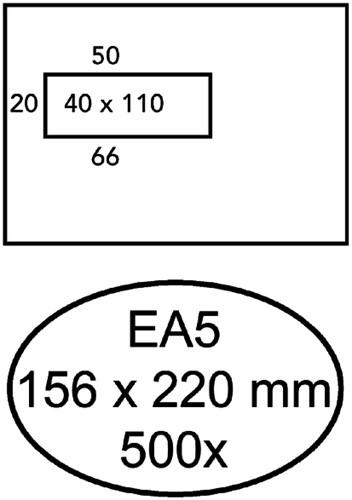 ENVELOP HERMES DIGITAL EA5 VL STRIP -VENSTERENVELOPPEN EA5HD90D58S 90GR WIT