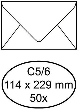 ENVELOP QUANTORE BANK C5/6 114X229 80GR -HUISMERK ENVELOPPEN 158159 ZK WIT