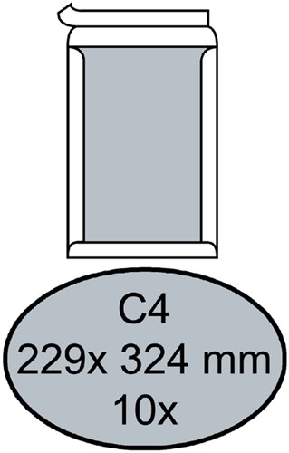ENVELOP QUANTORE BORDRUG C4 229X324 -HUISMERK ENVELOPPEN 181055 120GR ZK WIT