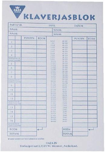 SCOREBLOK KLAVERJASSEN 50VEL -SPEELKAARTEN 100003