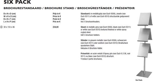 BROCHUREREK VAN ESCH six pack MetallGrey -TIJDSCHOPBERG HI FIVE BROCHUREREK VAN ESCH 9306